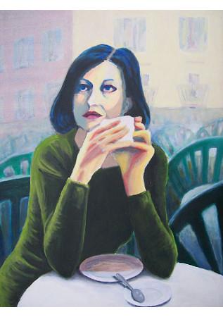 Italienerin im Straßencafe