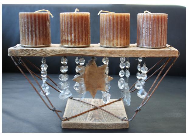 Adventskranz recycelt, passend zu Altholz- oderPallettenmöbeln