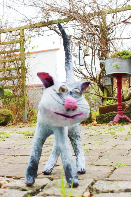 Die Katze mit der rosa Nase aus einem Workshop vor Weihnachten 2015 in meinem Atelier