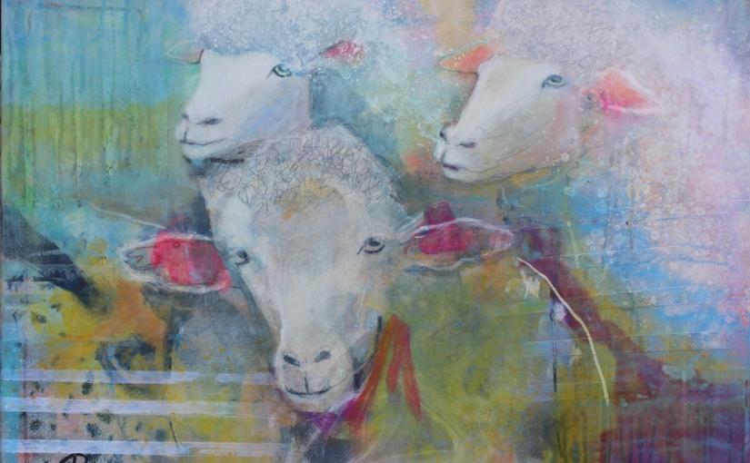 Schafe hinter einemGatter