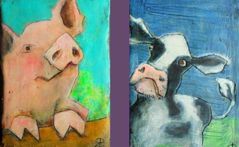 Kleinformatige Bauernhoftiere inGipsrelief