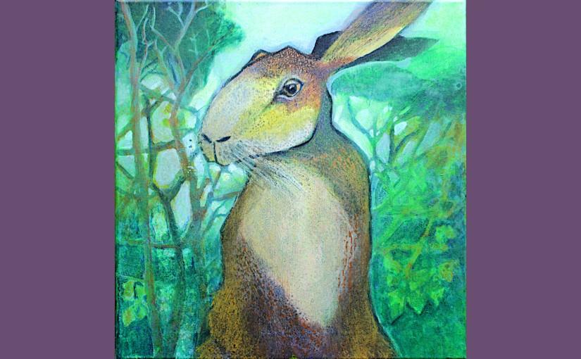 Hase vorm Wald in Negative PaintingTechnik