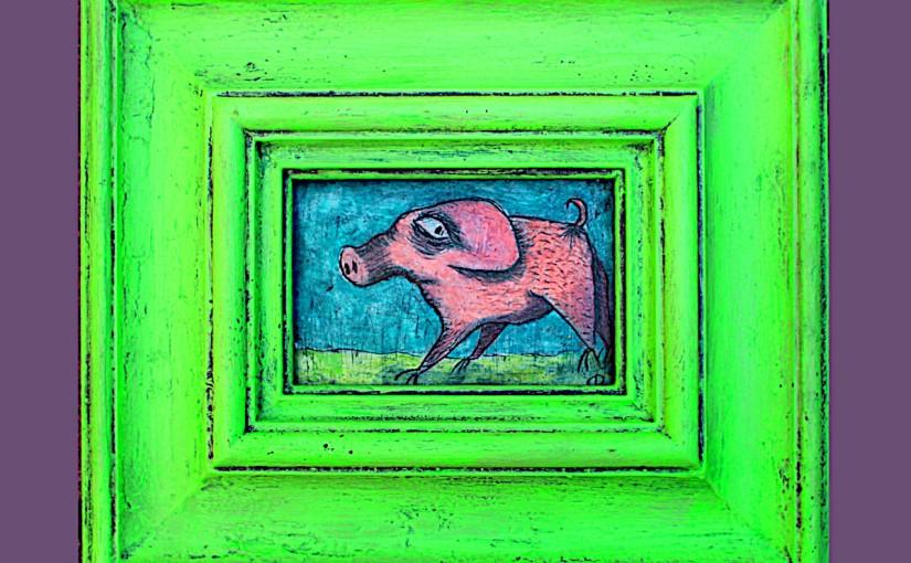 Kleines Gipsreliefschwein
