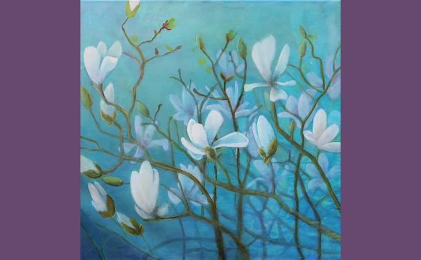 Magnolien in Negative PaintingTechnik
